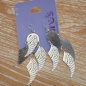 Silver Angel Wings Earrings NEW